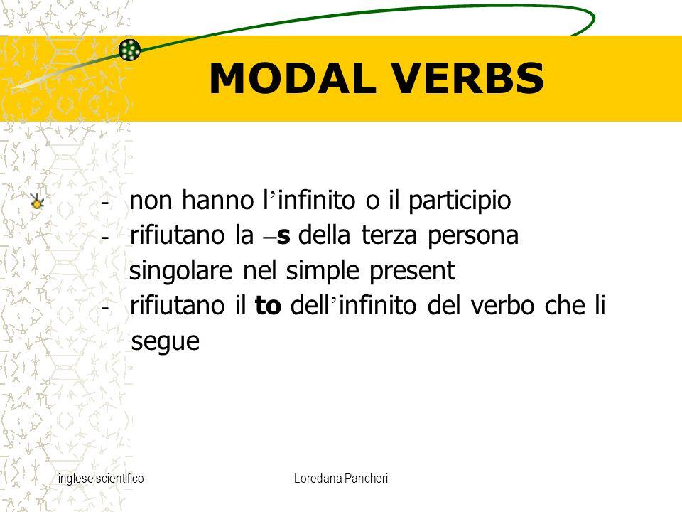 inglese scientificoLoredana Pancheri MODAL VERBS - non hanno l infinito o il participio - rifiutano la – s della terza persona singolare nel simple pr