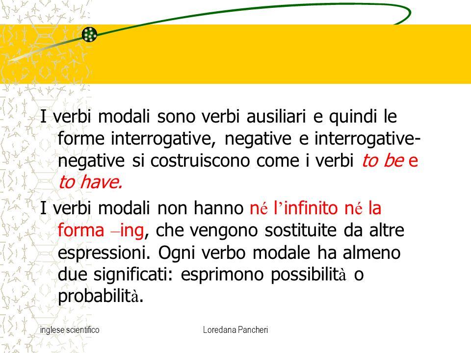 inglese scientificoLoredana Pancheri I verbi modali sono verbi ausiliari e quindi le forme interrogative, negative e interrogative- negative si costru