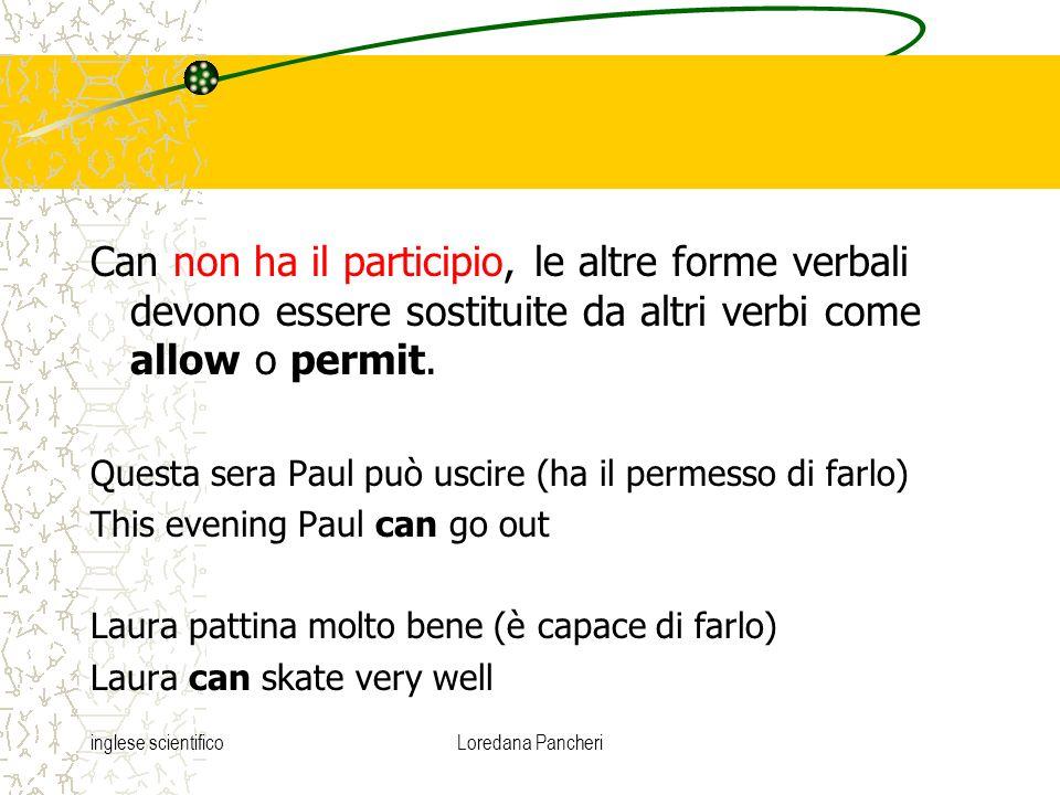 inglese scientificoLoredana Pancheri Can non ha il participio, le altre forme verbali devono essere sostituite da altri verbi come allow o permit. Que
