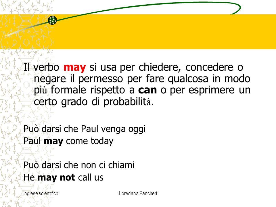 inglese scientificoLoredana Pancheri Il verbo may si usa per chiedere, concedere o negare il permesso per fare qualcosa in modo pi ù formale rispetto