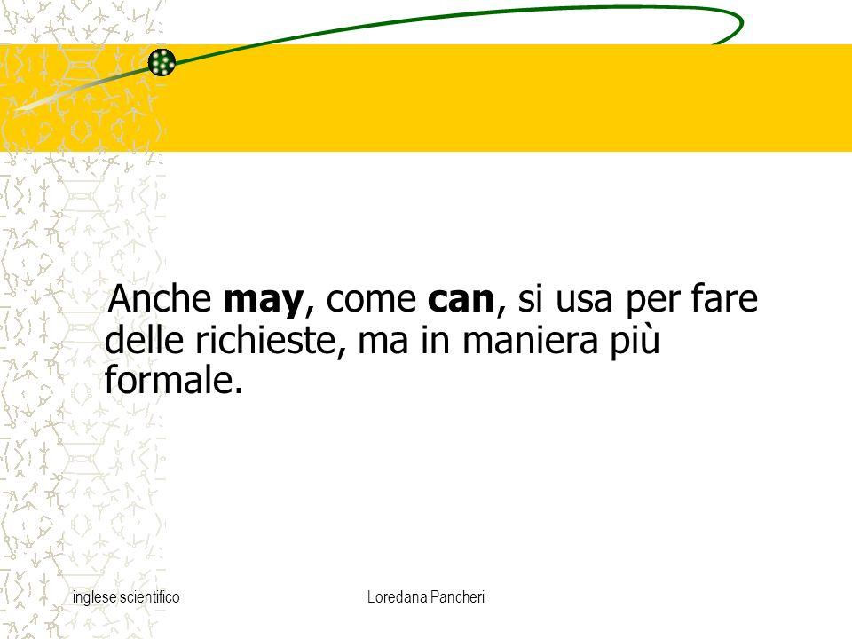 inglese scientificoLoredana Pancheri Anche may, come can, si usa per fare delle richieste, ma in maniera più formale.