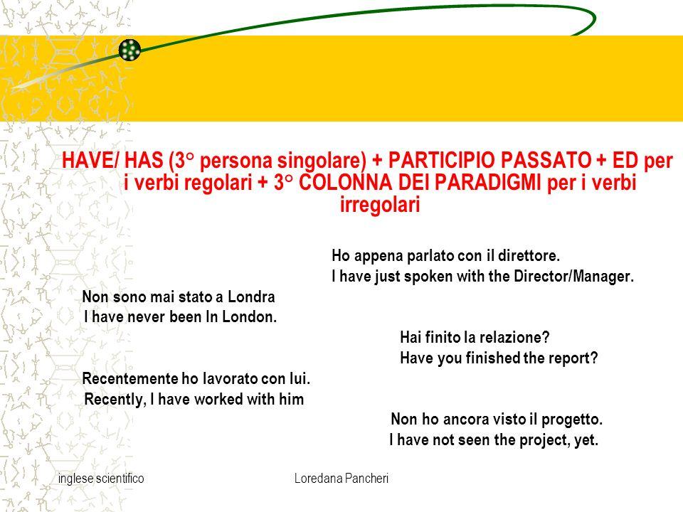 inglese scientificoLoredana Pancheri HAVE/ HAS (3° persona singolare) + PARTICIPIO PASSATO + ED per i verbi regolari + 3° COLONNA DEI PARADIGMI per i