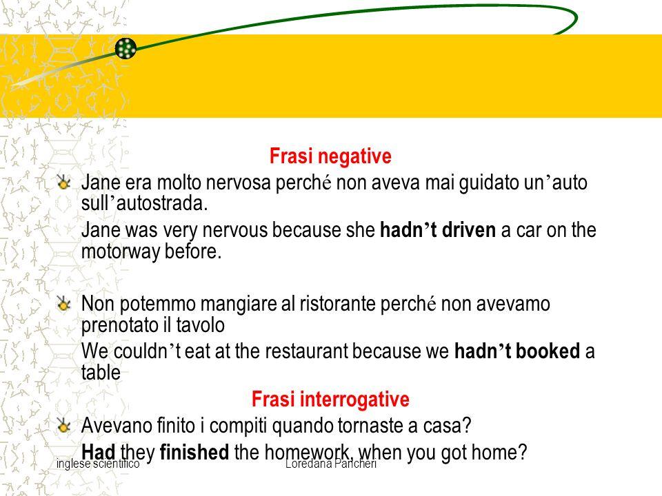 inglese scientificoLoredana Pancheri Il Past Perfect si usa comunemente dopo i verbi come dire e pensare per parlare di unazione che ha avuto luogo in precedenza.