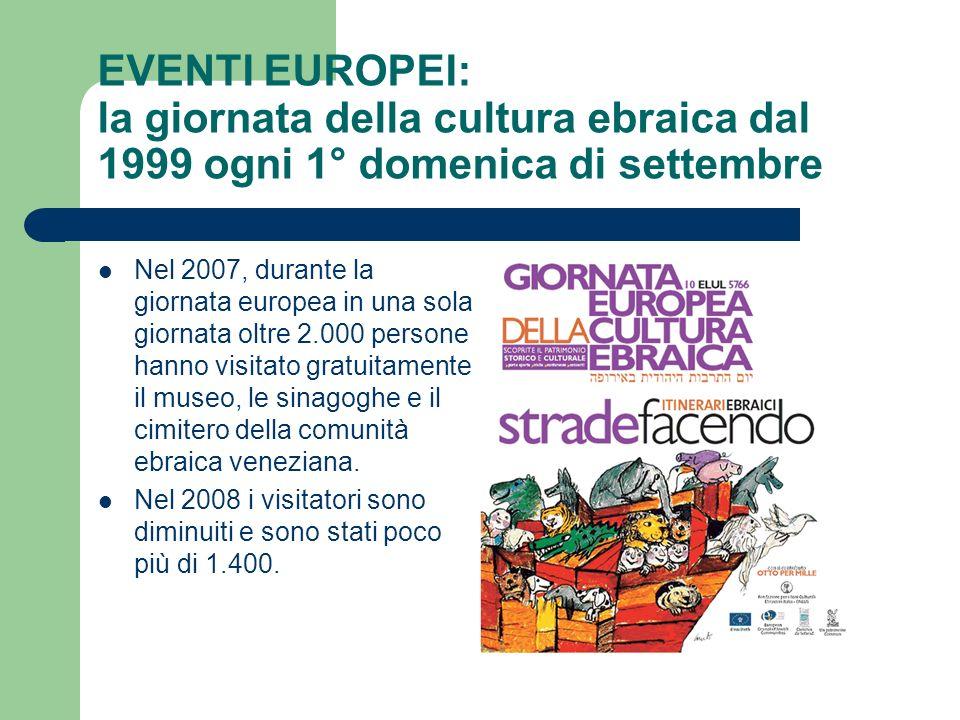 EVENTI EUROPEI: la giornata della cultura ebraica dal 1999 ogni 1° domenica di settembre Nel 2007, durante la giornata europea in una sola giornata ol