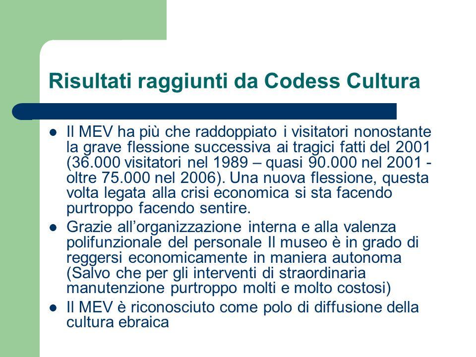 Risultati raggiunti da Codess Cultura Il MEV ha più che raddoppiato i visitatori nonostante la grave flessione successiva ai tragici fatti del 2001 (3