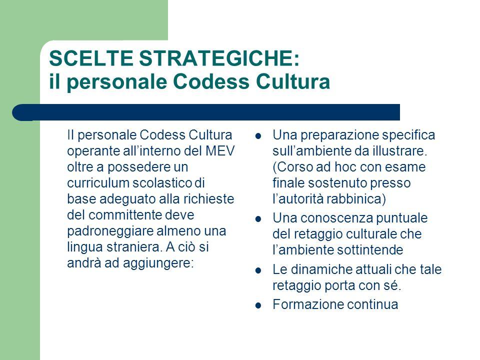 SCELTE STRATEGICHE: il personale Codess Cultura Il personale Codess Cultura operante allinterno del MEV oltre a possedere un curriculum scolastico di