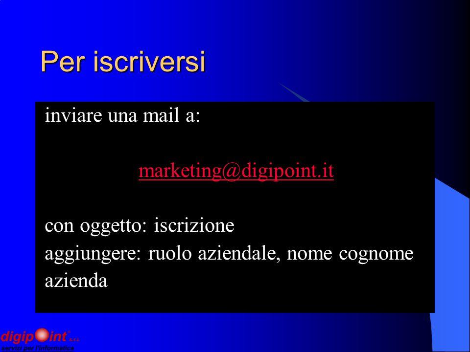 Per iscriversi inviare una mail a: marketing@digipoint.it con oggetto: iscrizione aggiungere: ruolo aziendale, nome cognome azienda