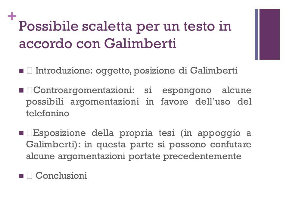 + Possibile scaletta per un testo in accordo con Galimberti • Introduzione: oggetto, posizione di Galimberti •Controargomentazioni: si espongono alcun