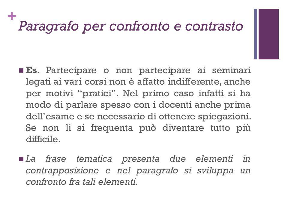 + Paragrafo per confronto e contrasto Es. Partecipare o non partecipare ai seminari legati ai vari corsi non è affatto indifferente, anche per motivi