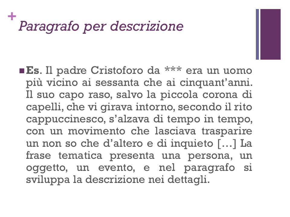 + Paragrafo per descrizione Es. Il padre Cristoforo da *** era un uomo più vicino ai sessanta che ai cinquantanni. Il suo capo raso, salvo la piccola