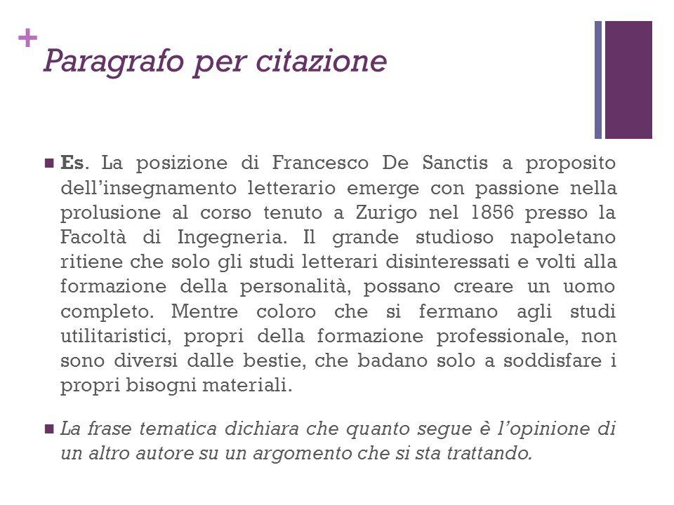 + Paragrafo per citazione Es. La posizione di Francesco De Sanctis a proposito dellinsegnamento letterario emerge con passione nella prolusione al cor