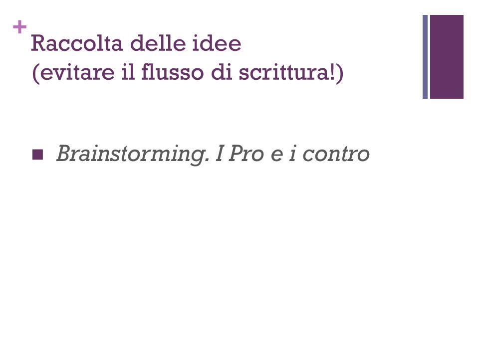 + Raccolta delle idee (evitare il flusso di scrittura!) Brainstorming. I Pro e i contro