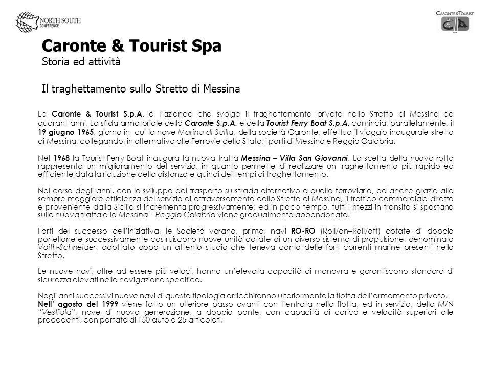 Caronte & Tourist Spa Storia ed attività Il traghettamento sullo Stretto di Messina La Caronte & Tourist S.p.A. è lazienda che svolge il traghettament