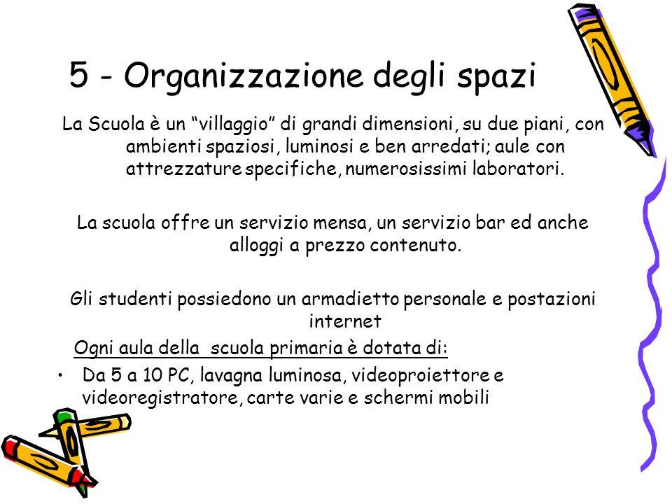 5 - Organizzazione degli spazi La Scuola è un villaggio di grandi dimensioni, su due piani, con ambienti spaziosi, luminosi e ben arredati; aule con attrezzature specifiche, numerosissimi laboratori.