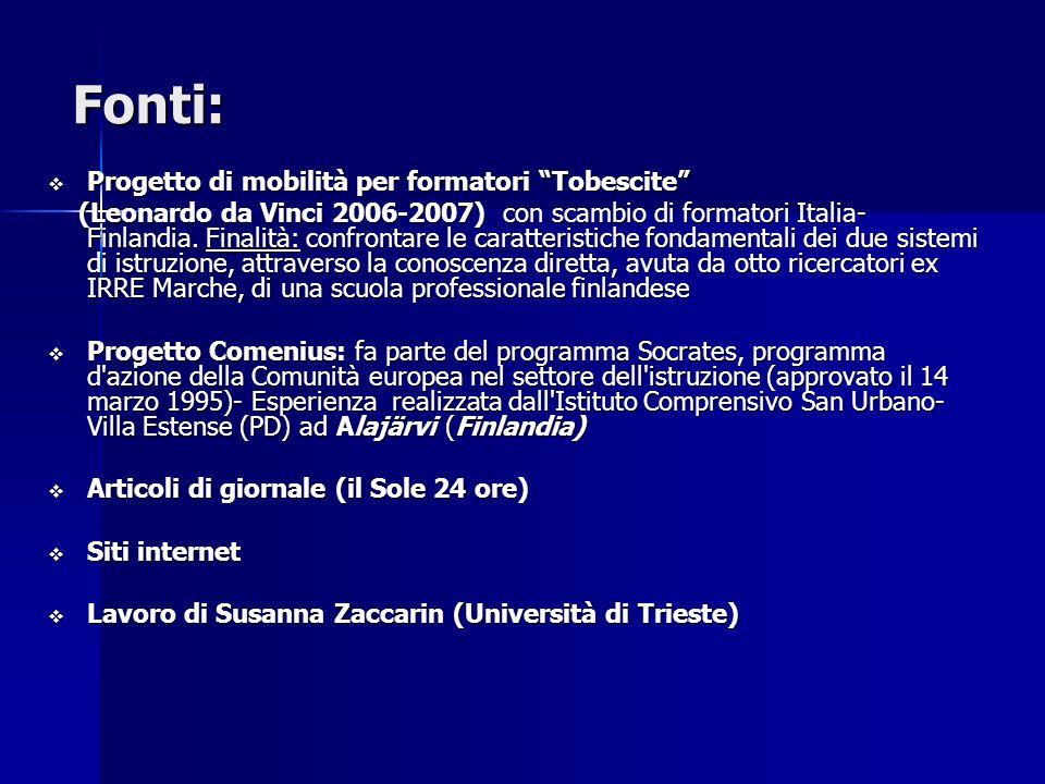 Fonti: Progetto di mobilità per formatori Tobescite Progetto di mobilità per formatori Tobescite (Leonardo da Vinci 2006-2007) con scambio di formatori Italia- Finlandia.