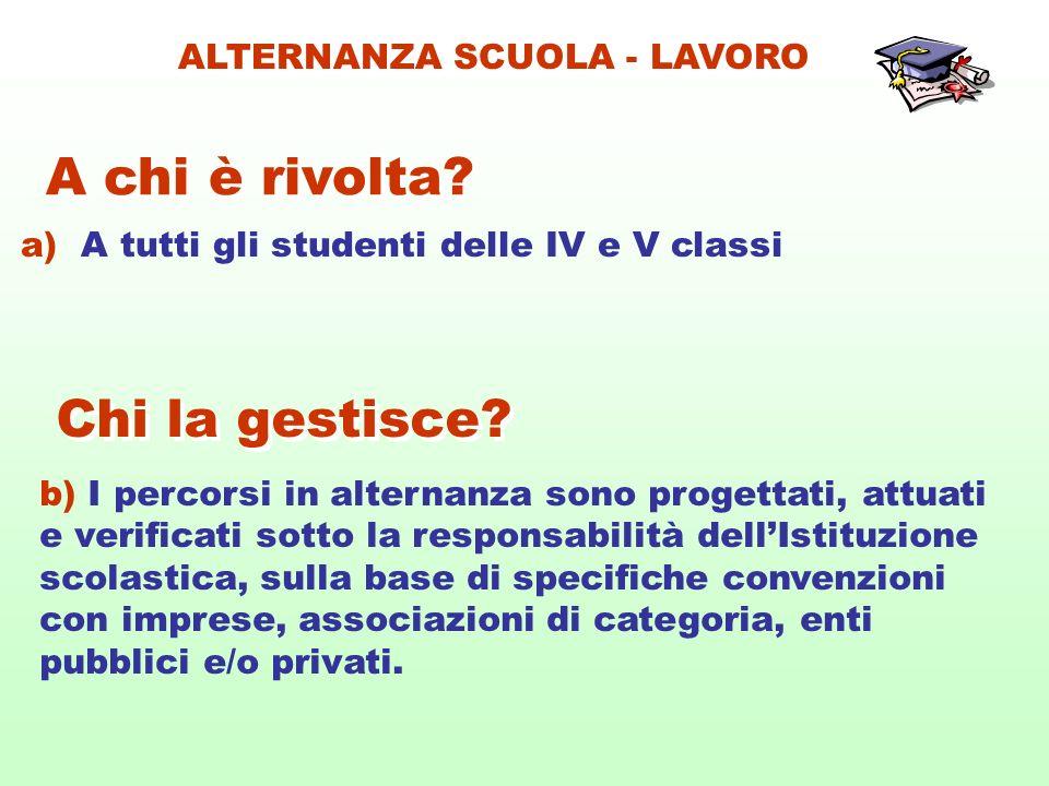 a) A tutti gli studenti delle IV e V classi A chi è rivolta? b) I percorsi in alternanza sono progettati, attuati e verificati sotto la responsabilità