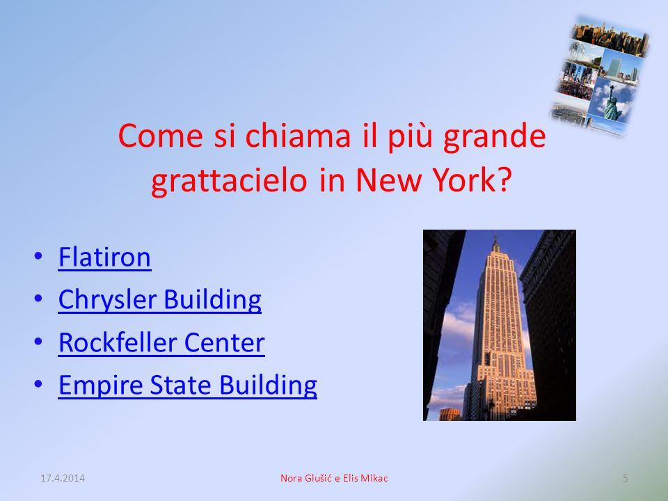 La prima sede permanente della borsa di New York è situata a: -Exchange Place -Wall Street sul Manhattan -Broad Street -Brokers Avenue 17.4.20144Nora