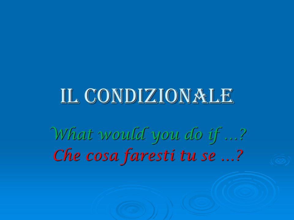 La formazione del condizionale - IRE e -ERE - IRE e -ERE Togliere l e finale e aggiungere Togliere l e finale e aggiungere -ei-emmo-ei-emmo -esti-este-esti-este -ebbe-ebbero-ebbe-ebbero Verbi di – ARE(come il futuro!!!) Verbi di – ARE(come il futuro!!!) Comprar Comprar a e Comprera e Comprer Aggiungere: -ei-emmoAggiungere: -ei-emmo -esti-este -esti-este -ebbe-ebbero -ebbe-ebbero e