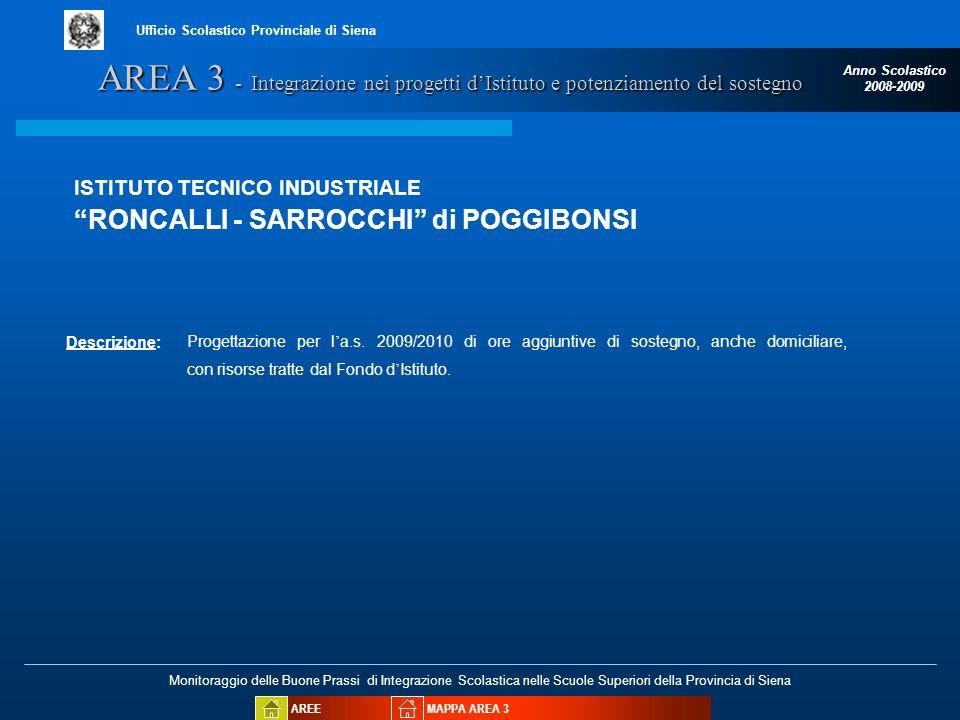 Monitoraggio delle Buone Prassi di Integrazione Scolastica nelle Scuole Superiori della Provincia di Siena Anno Scolastico 2008-2009 Ufficio Scolastic