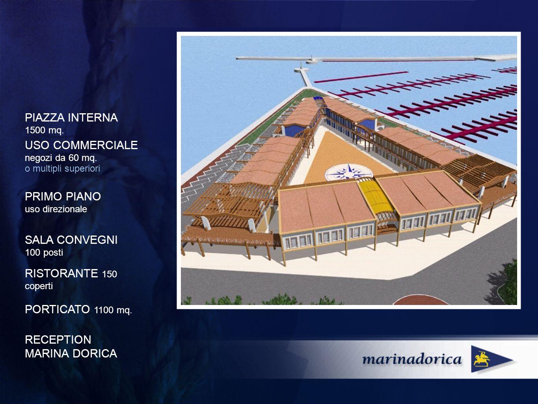 PIAZZA INTERNA 1500 mq. PORTICATO 1100 mq. USO COMMERCIALE negozi da 60 mq.