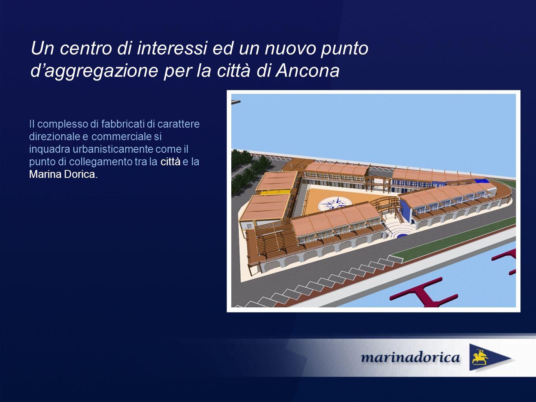 Il complesso di fabbricati di carattere direzionale e commerciale si inquadra urbanisticamente come il punto di collegamento tra la città e la Marina Dorica.