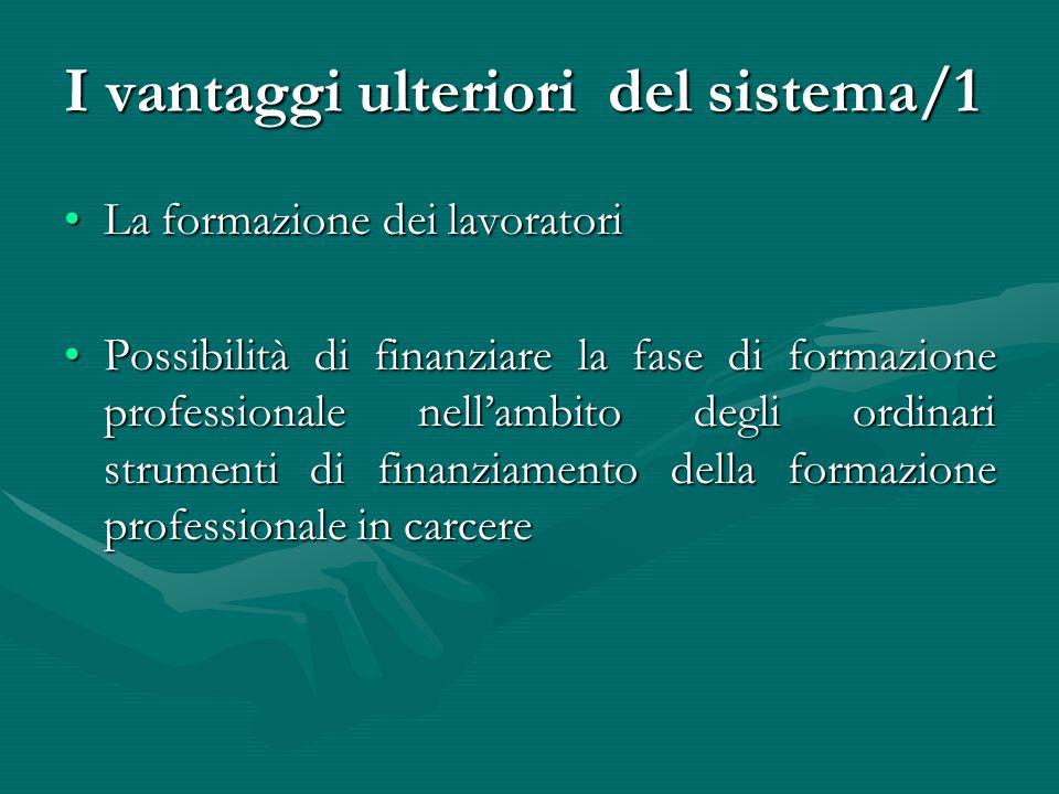 I vantaggi ulteriori del sistema/1 La formazione dei lavoratoriLa formazione dei lavoratori Possibilità di finanziare la fase di formazione profession
