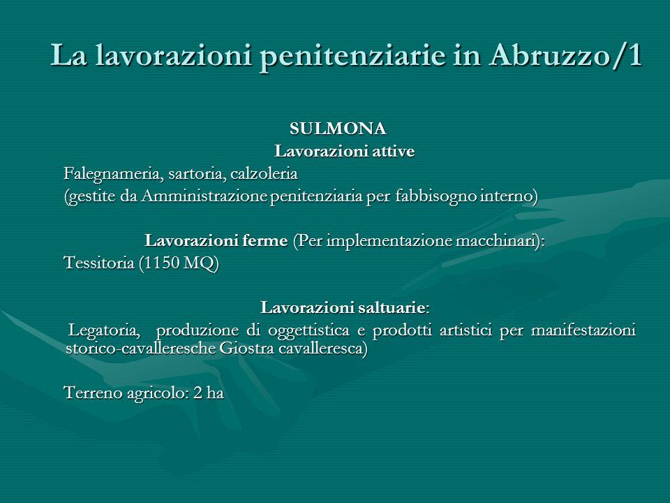 La lavorazioni penitenziarie in Abruzzo/1 SULMONA Lavorazioni attive Lavorazioni attive Falegnameria, sartoria, calzoleria Falegnameria, sartoria, cal
