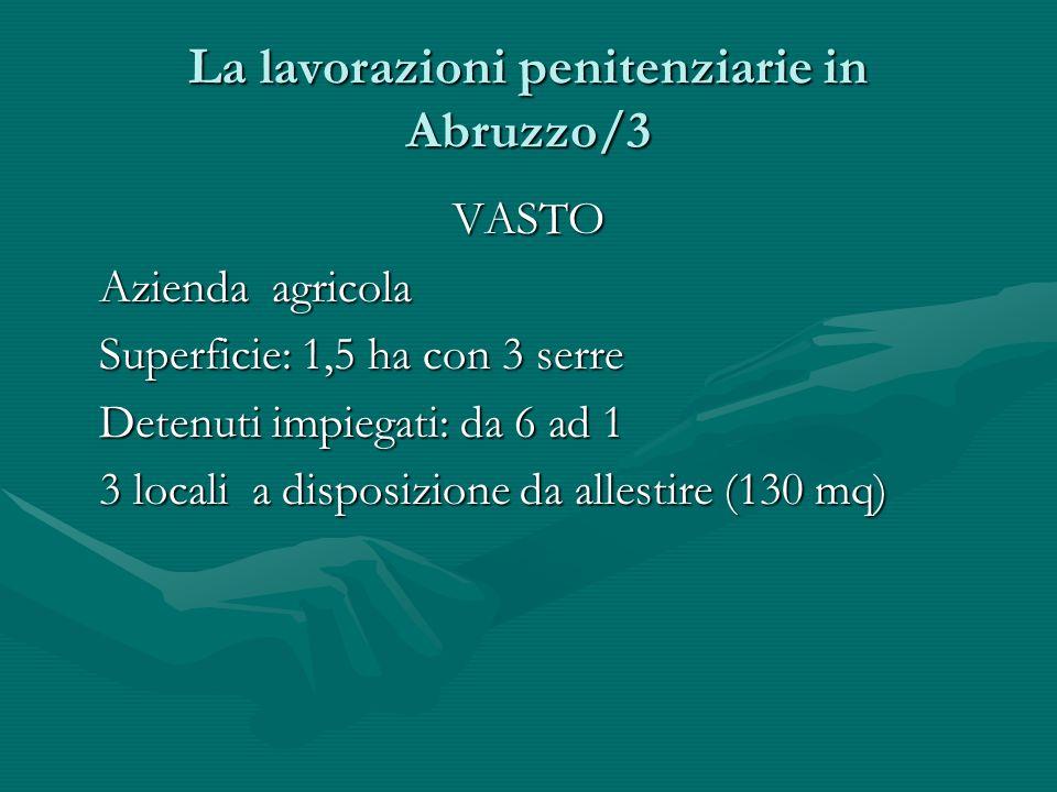 La lavorazioni penitenziarie in Abruzzo/3 VASTO Azienda agricola Azienda agricola Superficie: 1,5 ha con 3 serre Superficie: 1,5 ha con 3 serre Detenu