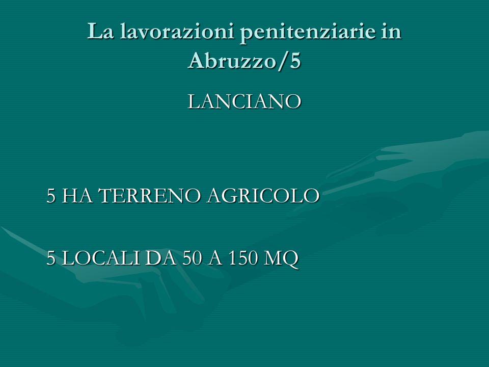 La lavorazioni penitenziarie in Abruzzo/5 LANCIANO 5 HA TERRENO AGRICOLO 5 HA TERRENO AGRICOLO 5 LOCALI DA 50 A 150 MQ 5 LOCALI DA 50 A 150 MQ