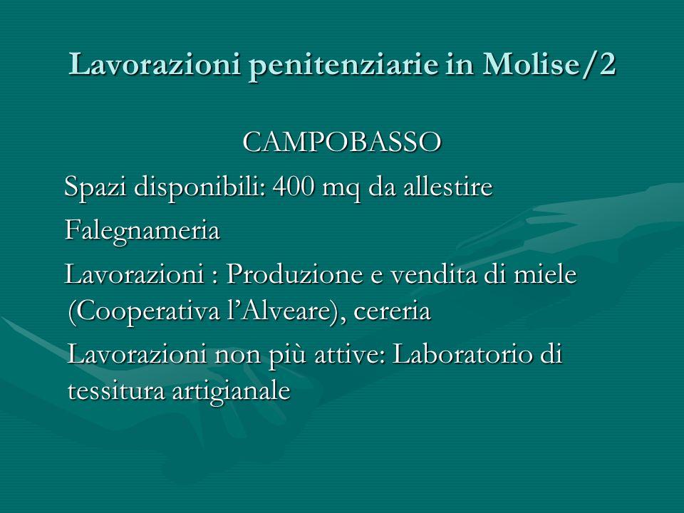 Lavorazioni penitenziarie in Molise/2 CAMPOBASSO Spazi disponibili: 400 mq da allestire Spazi disponibili: 400 mq da allestire Falegnameria Falegnamer