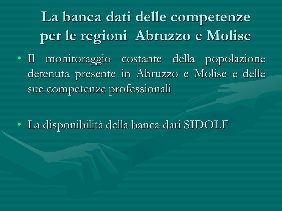 La banca dati delle competenze per le regioni Abruzzo e Molise Il monitoraggio costante della popolazione detenuta presente in Abruzzo e Molise e dell