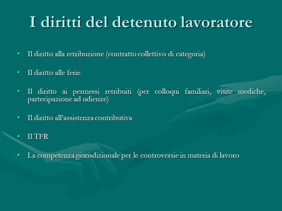 I diritti del detenuto lavoratore Il diritto alla retribuzione (contratto collettivo di categoria)Il diritto alla retribuzione (contratto collettivo d