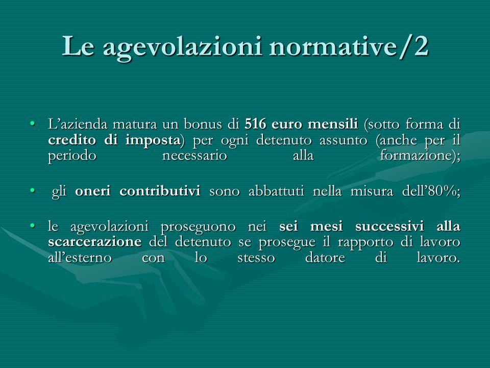 Le agevolazioni normative/2 Lazienda matura un bonus di 516 euro mensili (sotto forma di credito di imposta) per ogni detenuto assunto (anche per il p
