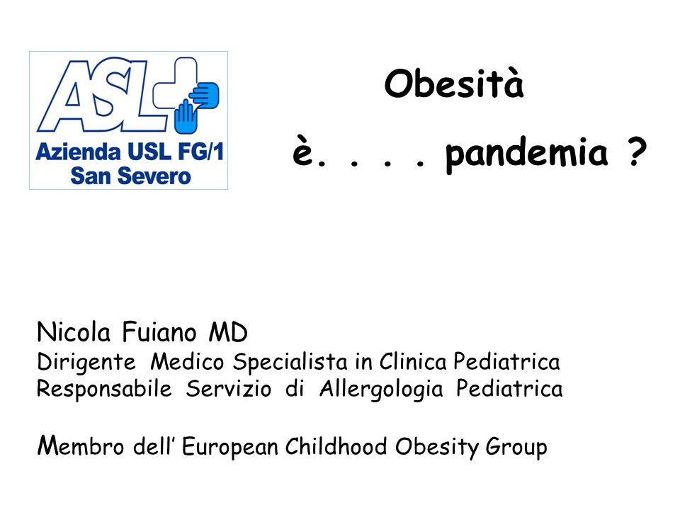 Nicola Fuiano MD Dirigente Medico Specialista in Clinica Pediatrica Responsabile Servizio di Allergologia Pediatrica M embro dell European Childhood Obesity Group Obesità è....