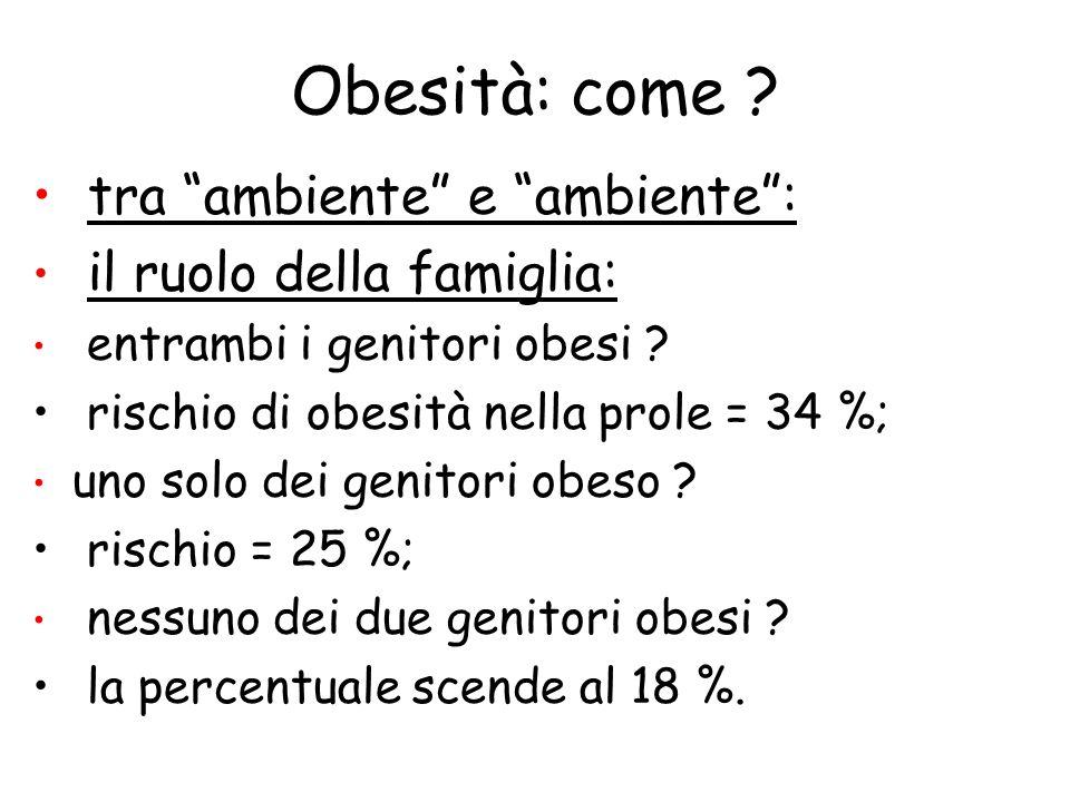 Obesità: come ? tra ambiente e ambiente: il ruolo della famiglia: entrambi i genitori obesi ? rischio di obesità nella prole = 34 %; uno solo dei geni