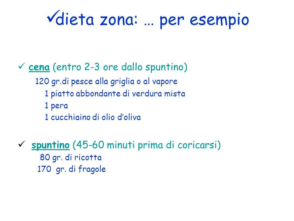 dieta zona: … per esempio cena (entro 2-3 ore dallo spuntino) 120 gr.di pesce alla griglia o al vapore 1 piatto abbondante di verdura mista 1 pera 1 c