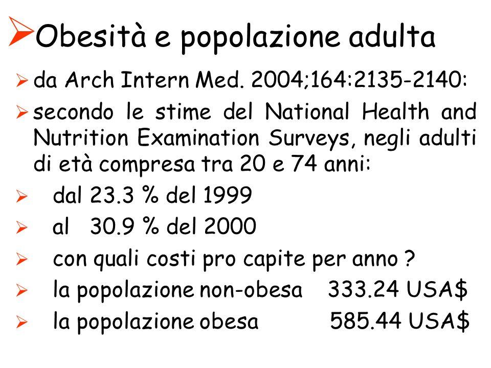 Obesità e popolazione adulta da Arch Intern Med. 2004;164:2135-2140: secondo le stime del National Health and Nutrition Examination Surveys, negli adu