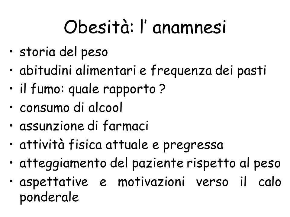 Obesità: l anamnesi storia del peso abitudini alimentari e frequenza dei pasti il fumo: quale rapporto ? consumo di alcool assunzione di farmaci attiv
