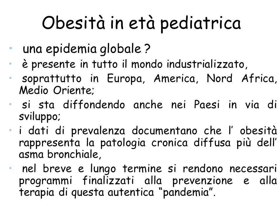 Obesità in età pediatrica una epidemia globale ? è presente in tutto il mondo industrializzato, soprattutto in Europa, America, Nord Africa, Medio Ori