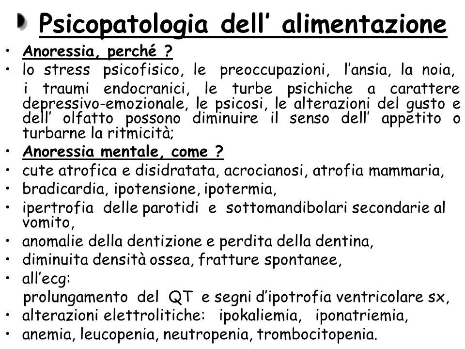 Psicopatologia dell alimentazione Anoressia, perché ? lo stress psicofisico, le preoccupazioni, lansia, la noia, i traumi endocranici, le turbe psichi