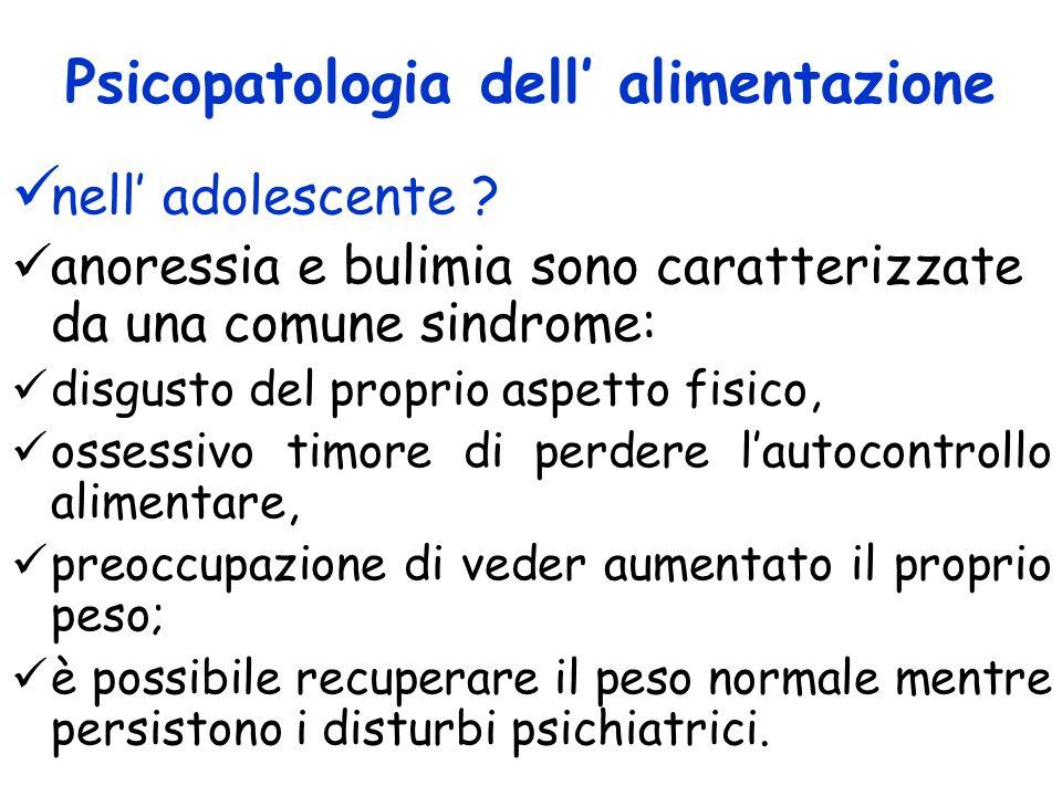 Psicopatologia dell alimentazione nell adolescente ? anoressia e bulimia sono caratterizzate da una comune sindrome: disgusto del proprio aspetto fisi