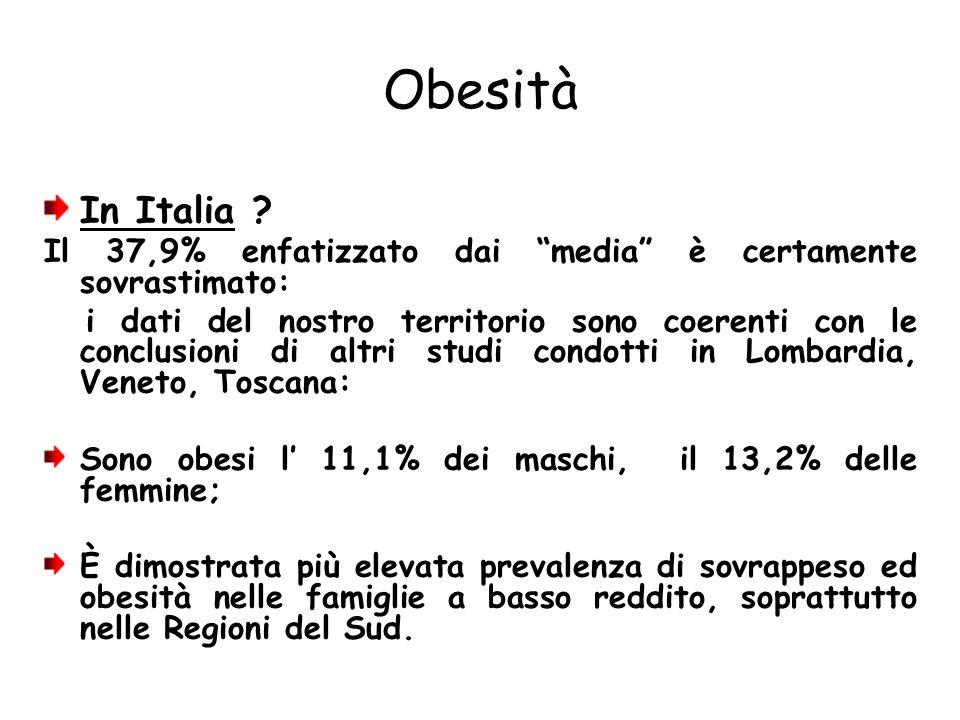 Obesità In Italia ? Il 37,9% enfatizzato dai media è certamente sovrastimato: i dati del nostro territorio sono coerenti con le conclusioni di altri s