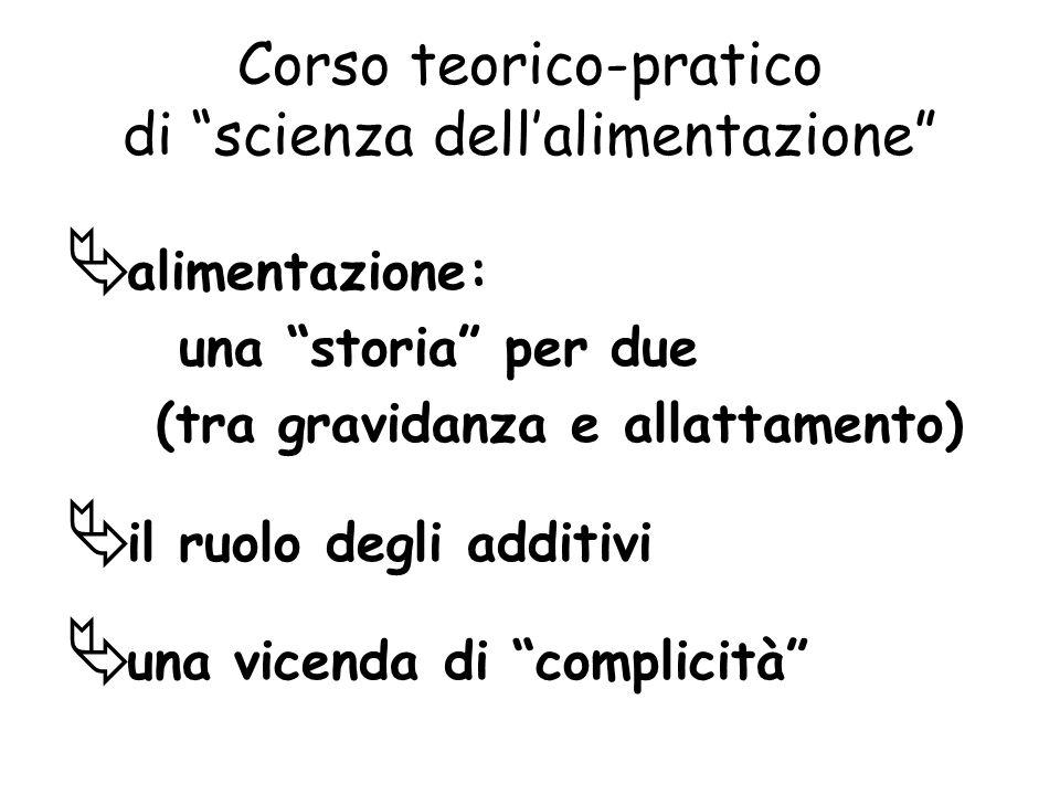 Corso teorico-pratico di scienza dellalimentazione alimentazione: una storia per due (tra gravidanza e allattamento) il ruolo degli additivi una vicenda di complicità