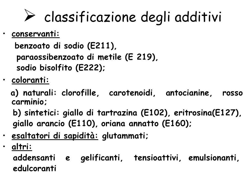classificazione degli additivi conservanti: benzoato di sodio (E211), paraossibenzoato di metile (E 219), sodio bisolfito (E222); coloranti: a) naturali: clorofille, carotenoidi, antocianine, rosso carminio; b) sintetici: giallo di tartrazina (E102), eritrosina(E127), giallo arancio (E110), oriana annatto (E160); esaltatori di sapidità: glutammati; altri: addensanti e gelificanti, tensioattivi, emulsionanti, edulcoranti