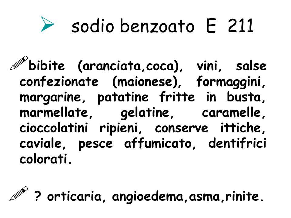 sodio benzoato E 211 bibite (aranciata,coca), vini, salse confezionate (maionese), formaggini, margarine, patatine fritte in busta, marmellate, gelati