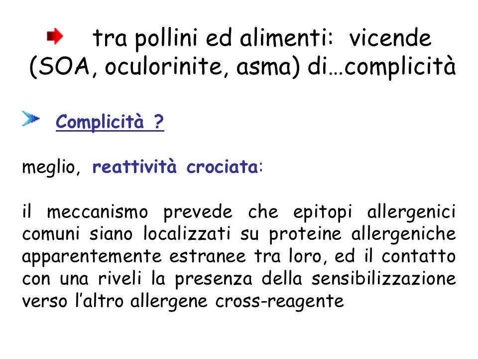 tra pollini ed alimenti: vicende (SOA, oculorinite, asma) di…complicità Complicità .