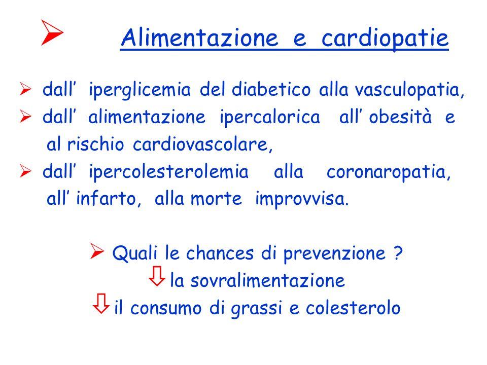 Alimentazione e cardiopatie dall iperglicemia del diabetico alla vasculopatia, dall alimentazione ipercalorica all obesità e al rischio cardiovascolare, dall ipercolesterolemia alla coronaropatia, all infarto, alla morte improvvisa.
