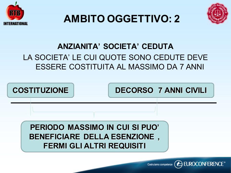 AMBITO OGGETTIVO: 2 ANZIANITA SOCIETA CEDUTA LA SOCIETA LE CUI QUOTE SONO CEDUTE DEVE ESSERE COSTITUITA AL MASSIMO DA 7 ANNI COSTITUZIONE DECORSO 7 AN