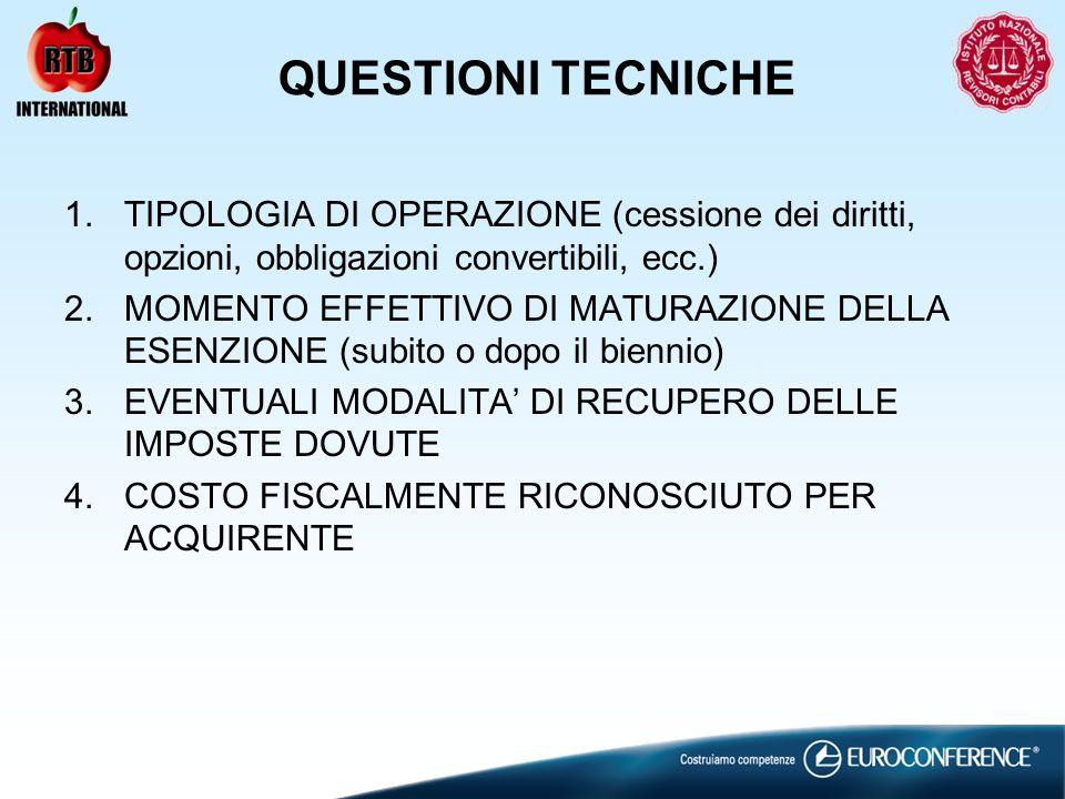 QUESTIONI TECNICHE 1.TIPOLOGIA DI OPERAZIONE (cessione dei diritti, opzioni, obbligazioni convertibili, ecc.) 2.MOMENTO EFFETTIVO DI MATURAZIONE DELLA ESENZIONE (subito o dopo il biennio) 3.EVENTUALI MODALITA DI RECUPERO DELLE IMPOSTE DOVUTE 4.COSTO FISCALMENTE RICONOSCIUTO PER ACQUIRENTE