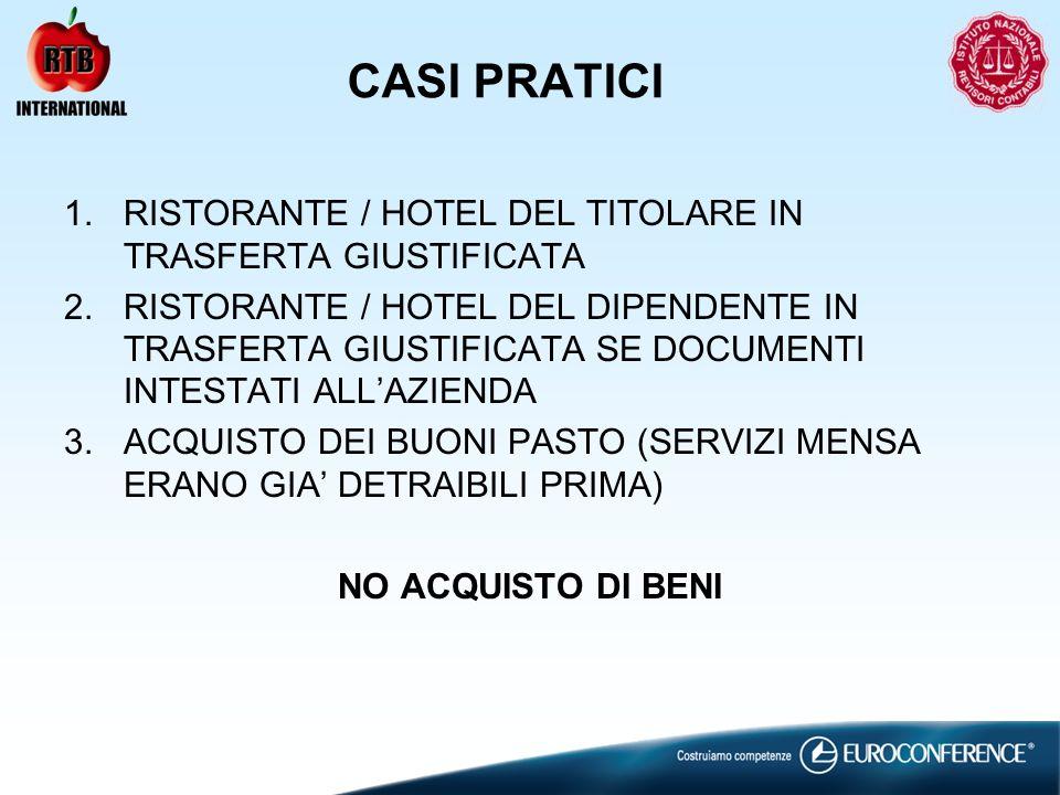 CASI PRATICI 1.RISTORANTE / HOTEL DEL TITOLARE IN TRASFERTA GIUSTIFICATA 2.RISTORANTE / HOTEL DEL DIPENDENTE IN TRASFERTA GIUSTIFICATA SE DOCUMENTI INTESTATI ALLAZIENDA 3.ACQUISTO DEI BUONI PASTO (SERVIZI MENSA ERANO GIA DETRAIBILI PRIMA) NO ACQUISTO DI BENI